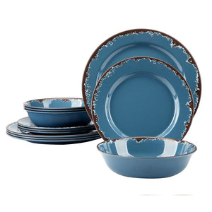 Melamine Camping Dinnerware Set - Yinshine 12 PCS Dinner Dishes Set Service for 4, Blue