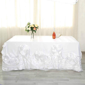 "Efavormart 90""x156"" White Large Rosette Rectangle Tablecloth Lamour Satin Tablecover for Wedding Party Dining Birthday"