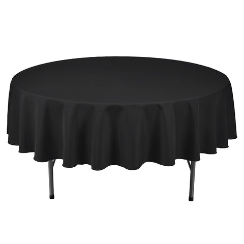 Remedios Round Table Cloth 90 inch Polyester Tablecloth Table Cover for Wedding Restaurant Party Banquet Decoration, Black
