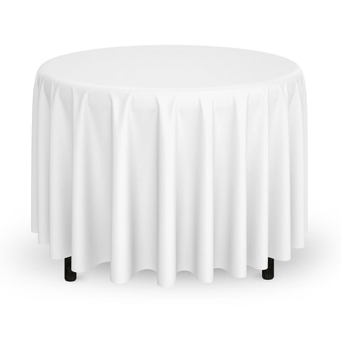 "Mill & Thread - 132"" Round Premium Tablecloth for Wedding / Banquet / Restaurant - Polyester Fabric Table Cloth - White"