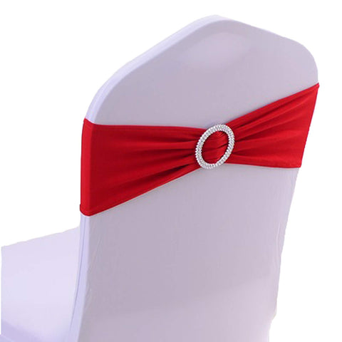 50PCS Spandex Chair Sashes Bows Elastic Chair Bands with Buckle Slider Sashes Bows for Wedding Decorations sy66 (red)