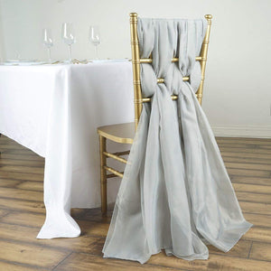 Efavormart 5 Pack 6 Ft Silver DIY Premium Chiffon Designer Chair Sashes for Wedding Banquet Decor Chair Bow Sash Party