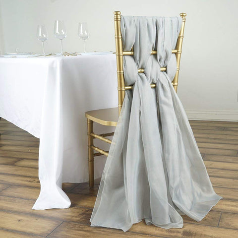 Tableclothsfactory 5 Pack 6 Ft Silver DIY Premium Chiffon Designer Chair Sashes for Wedding Banquet Decor Chair Bow Sash Party