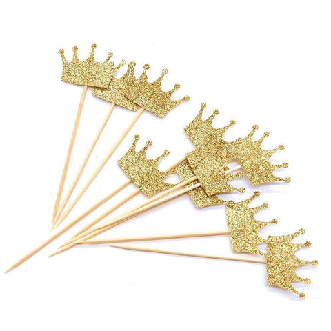 Gold Glitter Crown Cupcake Toppers Cake Decoration for First Birthday, Birthday Party, Baby Shower, Wedding - 40 Pack