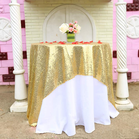 BalsaCircle TRLYC 50x50-Inch Square Sequin Tablecloth for Wedding Happy New Year-Gold