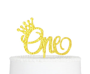 Qttier(TM One Crown Cake Topper, 1st Birthday Cake Topper, ONE Birthday Premium Quality Acrylic Cake Topper for First Birthday Party Decoration with Cardboard Packaging