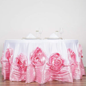 "Efavormart 132"" White/Pink Large Rosette Round Lamour Satin Tablecloth for Wedding Party Decoration Kitchen Dining Catering"