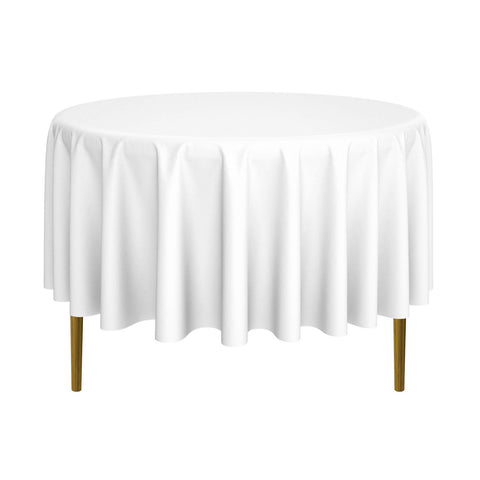 "Lann's Linens - 90"" Round Premium Tablecloth for Wedding / Banquet / Restaurant - Polyester Fabric Table Cloth - White"