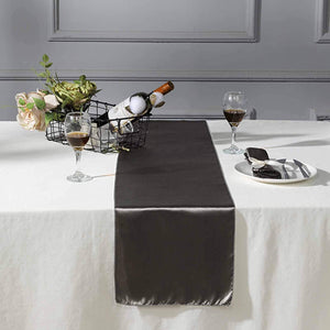 "Efavormart 5PCS of Premium Satin Table Top Runner for Weddings Birthday Party Fit Rectangle and Round Table 12"" x 108"" Grey"
