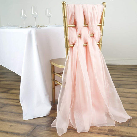 Tableclothsfactory 5 Pack 6 Ft Blush DIY Premium Chiffon Designer Chair Sashes for Wedding Banquet Decor Chair Bow Sash Party Decoration