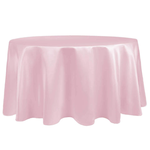 Ultimate Textile -23 Pack- Bridal Satin 120-Inch Round Tablecloth, Blush Ice Pink
