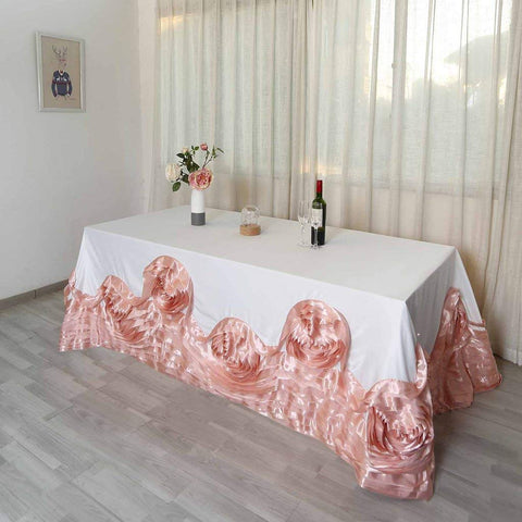 "Tableclothsfactory 90""x132"" Rose Gold/Blush Large Rosette Oblong Rectangular Lamour Satin Tablecloth for Wedding Party Dining Birthday"