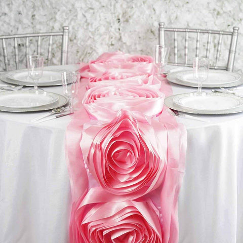 "Efavormart 13"" x 104"" Pink Silk Large Rosette Satin Table Runner for Wedding Event Decoration"