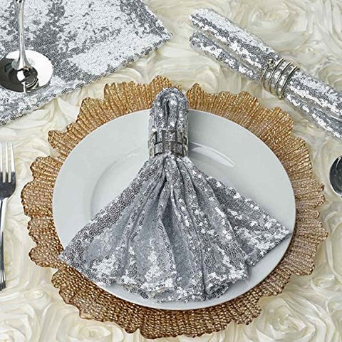 Tableclothsfactory 5 PCS Premium Sequin Napkin for Wedding Banquet Party Table Decoration Silver - 20x20