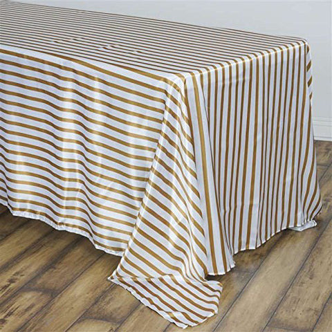 BalsaCircle 90x156-Inch Gold Stripes Rectangle Polyester Tablecloth Table Cover Linens for Wedding Party Kitchen Dining Events
