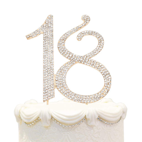 Hatcher lee Bling Crystal Happy 18 Birthday Cake Topper - Best Keepsake | 18th Party Decorations Gold