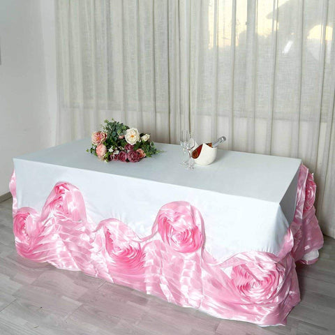"Efavormart 90""x132"" White/Pink Large Rosette Oblong Rectangular Lamour Satin Tablecloth for Wedding Party Dining Birthday"