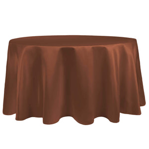 Ultimate Textile -5 Pack- Bridal Satin 60-Inch Round Tablecloth - Fits Tables Smaller Than 60-Inches in Diameter, Copper Brown
