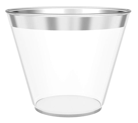 JL Prime 100 Silver Plastic Cups, 9 Oz Heavy Duty Reusable Disposable Silver Rim Clear Plastic Cups, Old Fashioned Tumblers, Hard Plastic Drinking Cups for Party and Wedding