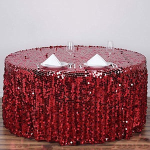 "Efavormart 120"" Big Payette Sparkly Sequin Round Tablecloth for Wedding Banquet Party - Burgundy - Premium Collection"