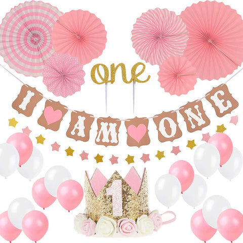 "LQSmile First Birthday Girl Decoration-Baby Girl 1st Birthday Party Hat Princess Tiara Crown, Cake Topper One, ""I Am One""and Stars Banner,Pink Hanging Paper Fan Flower,Pink and White Balloons"