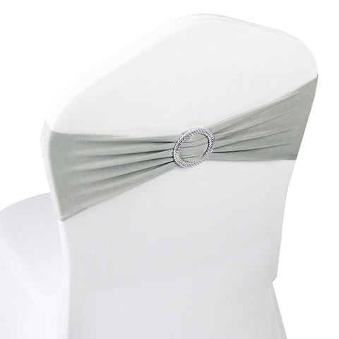 Silver Spandex Chair Bands Sashes - 50 pcs Wedding Banquet Party Event Decoration Chair Bows Ties (Silver, 50 pcs)