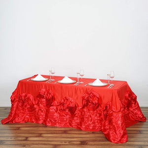 "Tableclothsfactory 90""x132"" Red Large Rosette Oblong Rectangular Lamour Satin Tablecloth for Wedding Party Dining Birthday"
