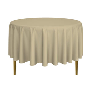 "Lann's Linens - 10 Premium 90"" Round Tablecloths for Wedding/Banquet/Restaurant - Polyester Fabric Table Cloths - Beige"
