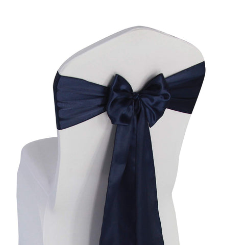 Navy Blue Satin Chair Sashes Ties - 50 pcs Wedding Banquet Party Event Decoration Chair Bows (Navy Blue, 50)