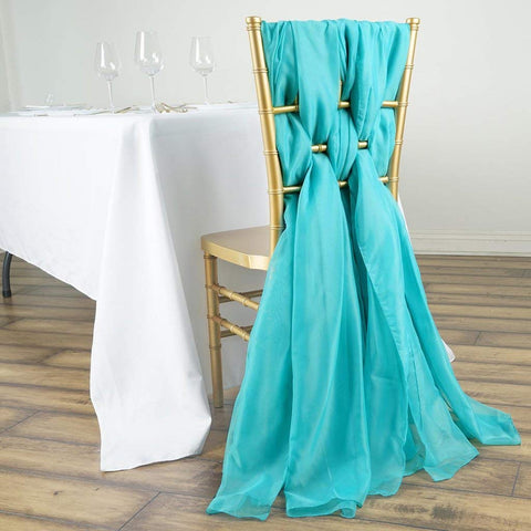 Tableclothsfactory 5 Pack 6 Ft Turquoise DIY Premium Chiffon Designer Chair Sashes for Wedding Banquet Decor Chair Bow Sash Party