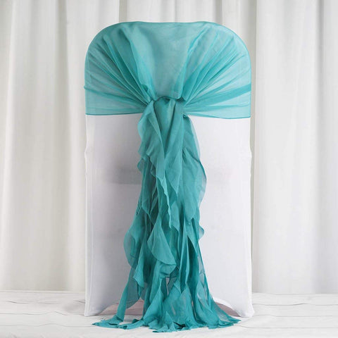 Tableclothsfactory 1 Set Turquoise Premium Designer Curly Willow Chiffon Chair Sashes for Home Wedding Birthday Party Dance Banquet