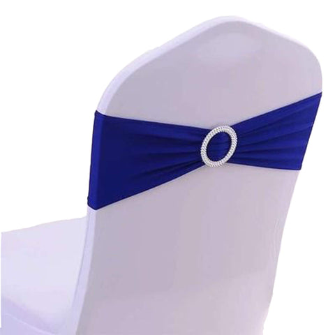 100PCS Stretch Wedding Chair Bands with Buckle Slider Sashes Bow Decorations 10 Colors (Royal Blue)