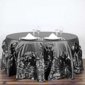 "Efavormart 120"" Charcoal Grey Large Rosette Round Tablecloth Lamour Satin Tablecover for Wedding Party Dining Birthday"