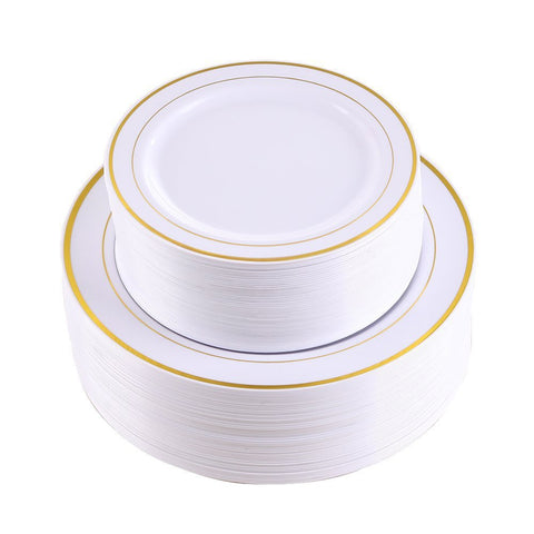 102 Pieces Gold Plastic Plates, White Party Plates, Premium Heavyweight Disposable Wedding Plates Includes: 51 Dinner Plates 10.25 Inch and 51 Salad / Dessert Plates 7.5 Inch