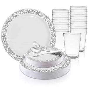 Disposable Plastic Dinnerware Set for 20 Guests - Includes Fancy White Dinner Plates w/Silver Rim, Dessert/Salad Plates, Silverware Set/Cutlery & Cups For Wedding, Birthday Party & Other Occasions