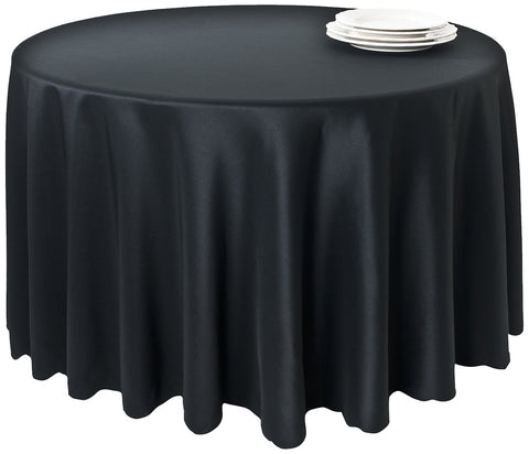 SARO LIFESTYLE LN201 Round Tablecloth Liners, 132-Inch, Black