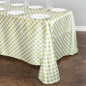 90 x 156 in. Rectangular Polka Dot Satin Tablecloth White / Emerald Green