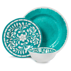 Dinnerware Set for 4 - Melamine 12 Piece Dinner Dishes Set for Camping Use, Lightweight, Teal