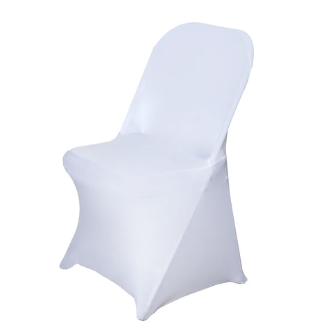 BalsaCircle 10 pcs White Spandex Stretchable Folding Chair Covers for Party Wedding Linens Decorations Dinning Ceremony Reception Supplies