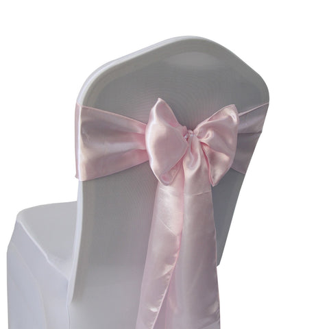 Pink Satin Chair Sashes Bows - 50 pcs Wedding Banquet Party Event Decoration Chair Bows (Pink, 50)