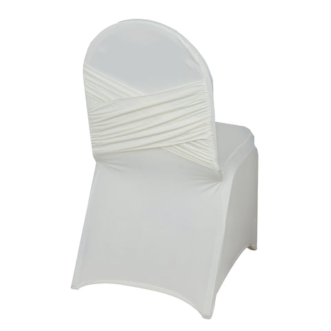 BalsaCircle 25 pcs Ivory Banquet Spandex Stretchable Chair Covers Crisscross Design Slipcovers for Wedding Party Home Decorations