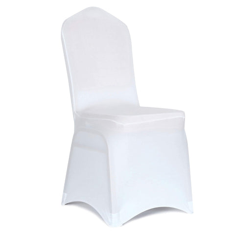 Obstal 100 PCS White Spandex Dining Room Chair Covers for Living Room - Universal Stretch Chair Slipcovers Protector for Wedding, Banquet, and Party