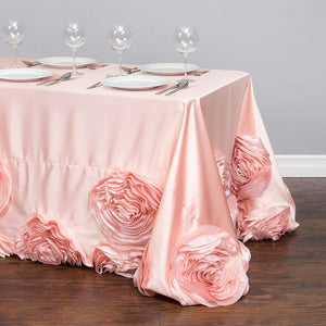 90 x 156 in. Rectangular Taffeta Rosette Tablecloth Blush Pink