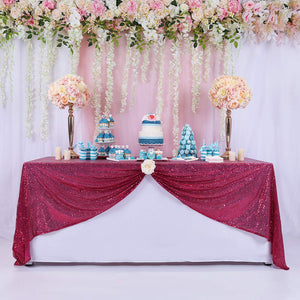 BalsaCircle TRLYC 50x50-Inch Square Wedding Sequin Tablecloth for Wedding Happy New Year-Fushia