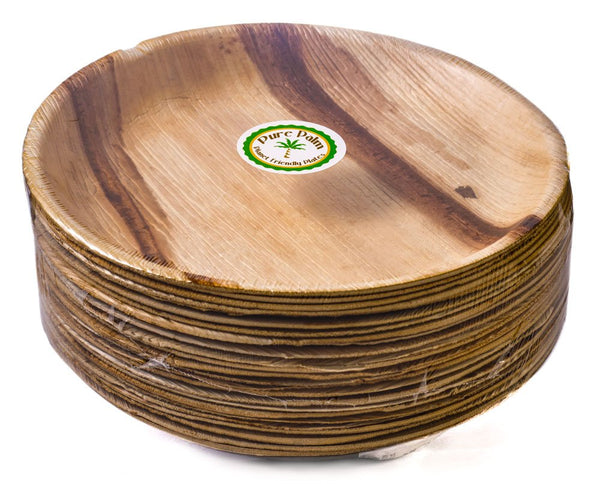 "Pure Palm Planet Friendly Plates; Upscale Disposable Dinnerware; All-Natural Compostable Plateware (10"" Round) (25 pack)"