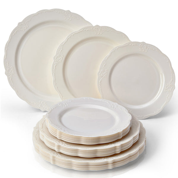 VINTAGE COLLECTION 12 PC DINNERWARE SET | 4 Dinner Plates | 4 Salad Plates | 4 Dessert Plates | Durable Plastic Dishes | Elegant Fine China Look | for Upscale Wedding and Dining (Cream)