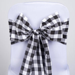 Efavormart 5 PCS Black/White Gingham Polyester Chair Sash Bowtie for Wedding Events Chair Bow Sash Party Decoration Supplies