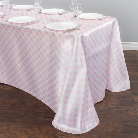 90 x 156 in. Rectangular Polka Dot Satin Tablecloth White / Pink