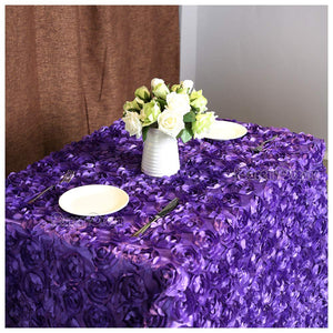 "QueenDream 50""x80"" Purple Rosette Fabric Rosette Tablecloth Luxurious Party Tablecloth New Year Tablecloth"