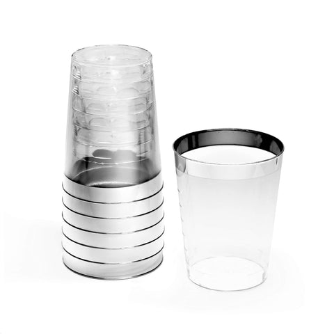 """ Occasions"" 100 pcs Wedding Party Disposable Plastic tumblers/Cups (10 Oz, Silver Rimmed Tumbler)"
